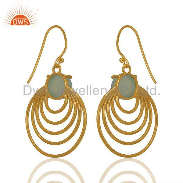 New Arrival Gold Plated Silver Chalcedony Gemstone Earrings Wholesale