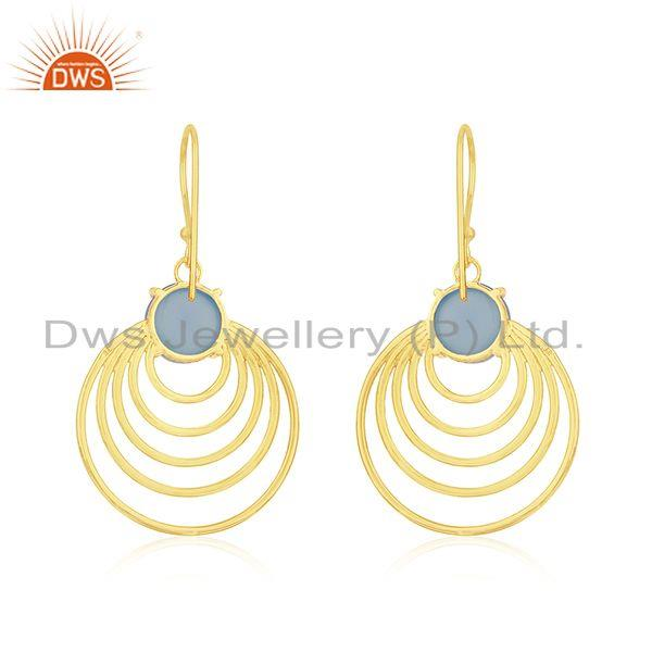 Sterling Silver Blue Chalcedony Gold Plated Designer Earrings Jewelry for Girls Manufacturer India