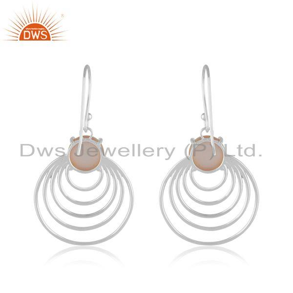Rose Chalcedony Gemstone 925 Silver Drop Earrings India Wholesale Jaipur