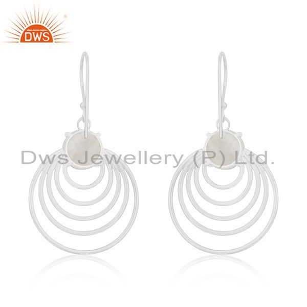 Rainbow Moonstone 925 Silver Earrings Manufacturer