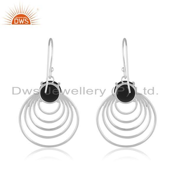 Black Onyx Gemstone 92.5 Silver Party Wear Jewelry Earring Supplier