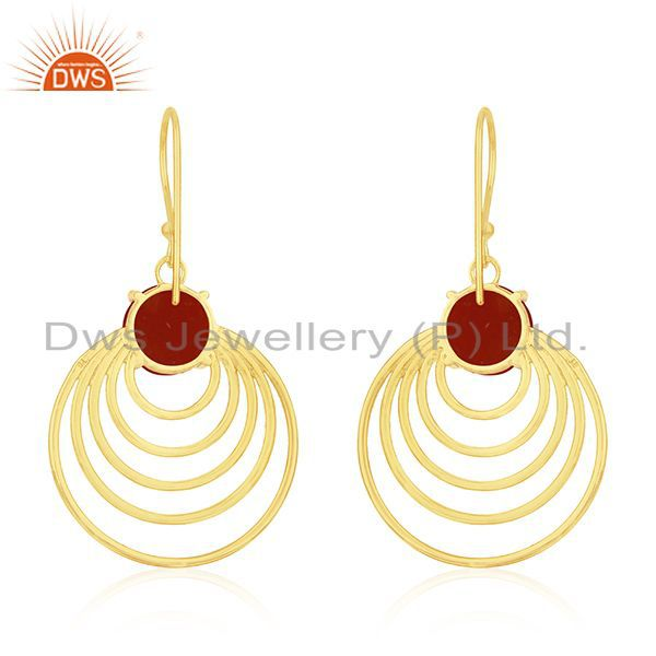 14k Gold Plated Silver Red Onyx Gemstone Designer Earrings for Womens Supplier India