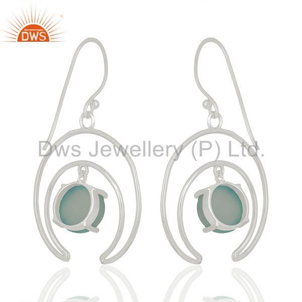 Solid 925 Silver Gemstone Half Moon Design Earrings Jewelry Supplier Jaipur