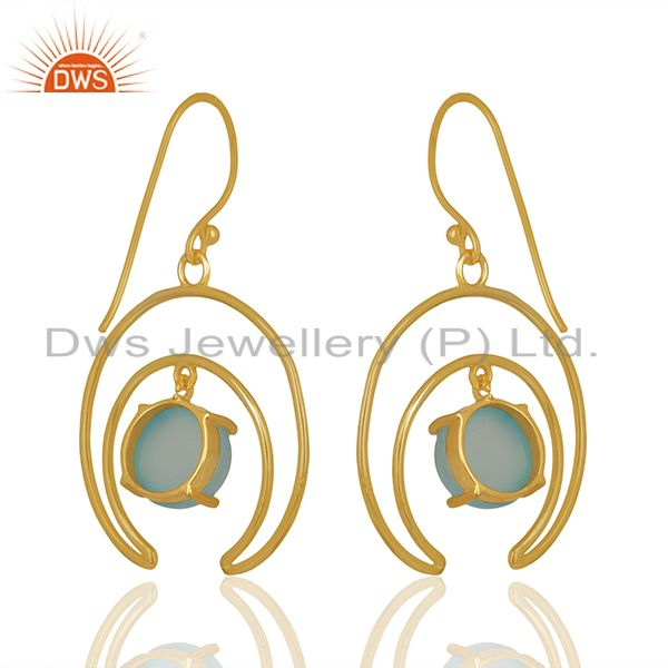Solid Silver Half Moon Design Chalcedony Gemstone Earrings Wholesale Jaipur