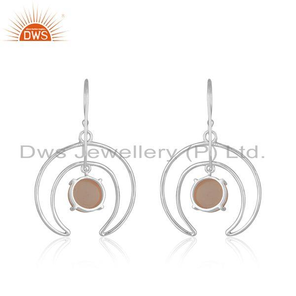 Manufacturer of Crescent Moon Design Fine Sterling Silver Pearl Earrings Manufacturer in India