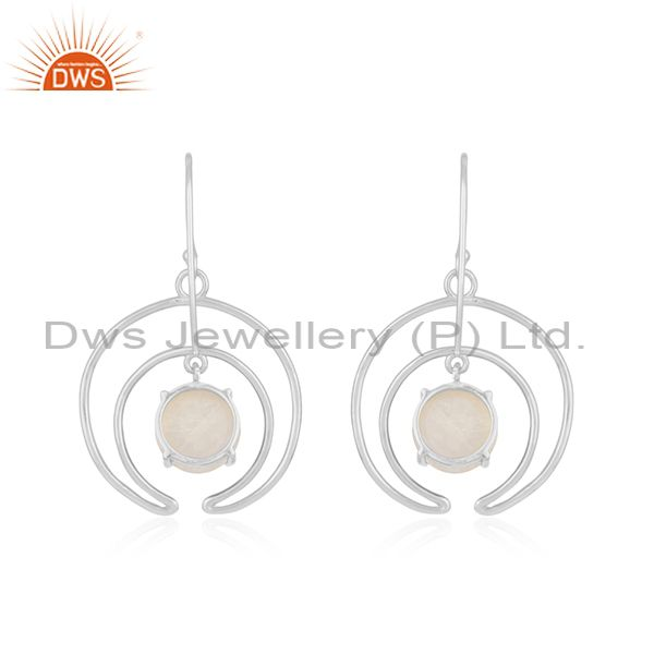 Top Quality Fine Sterling Silver Moon Design Natural Rainbow Moonstone Earrings