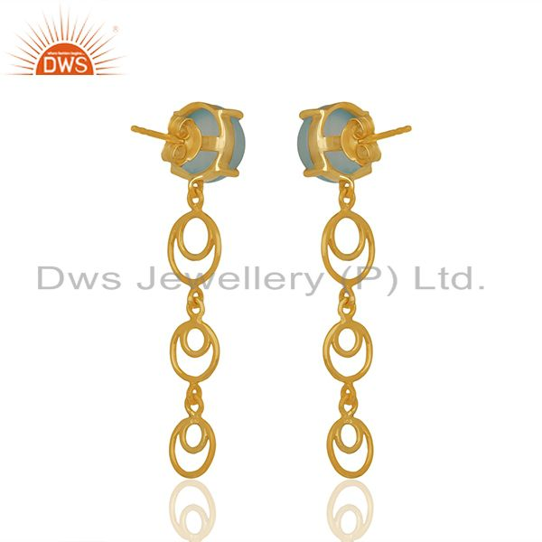 Gold Plated 925 Silver Aqua Chalcedony Gemstone Dangle Earrings Manufacturer