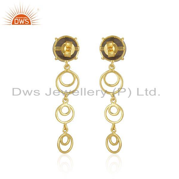 Top Quality Natural Labradorite Gemstone Gold Plated 925 Silver Designer Earrings
