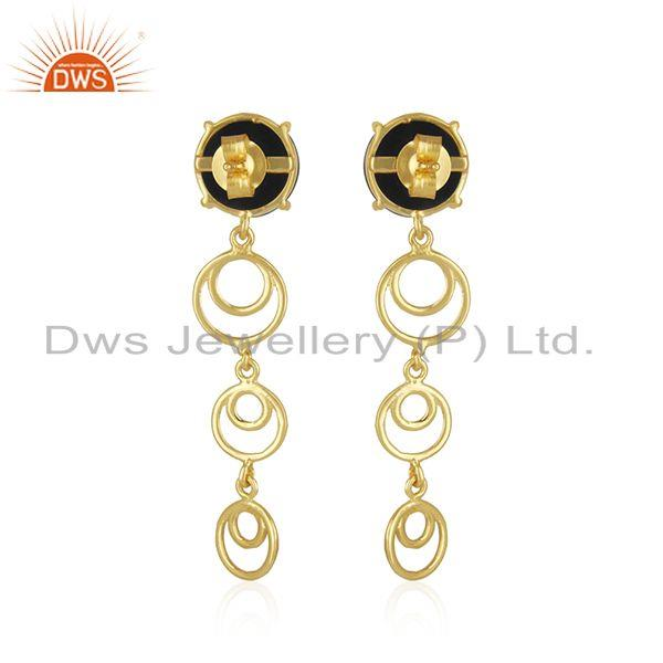 Top Quality New Arrival Gold Plated Sterling Silver Black Onyx Gemstone Earrings