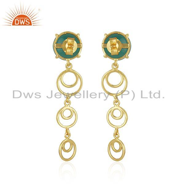 Best Quality Best Selling Gold Plated Silver Green Onyx Gemstone Designer Earrings