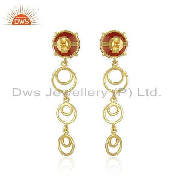 Genuine Trendy Red Onyx Gemstone Gold Plated 925 Silver Designer Earrings