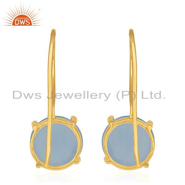 Suppliers Blue Chalcedony Gemstone 925 Silver Gold Plated Drop Earrings Wholesale