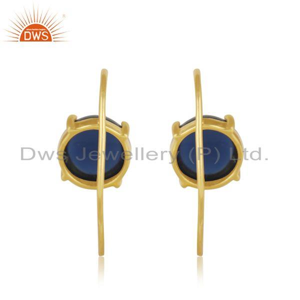 Blue Corundum Gemstone Gold Plated 925 Silver Earring Jewelry Manufacturer Jaipur