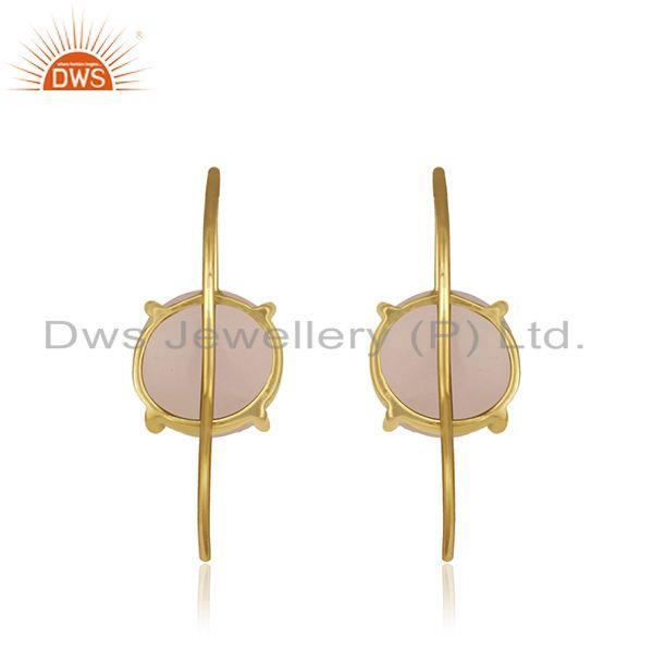 Designer of Rose chalcedony gemstone gold plated silver earring manufacturer