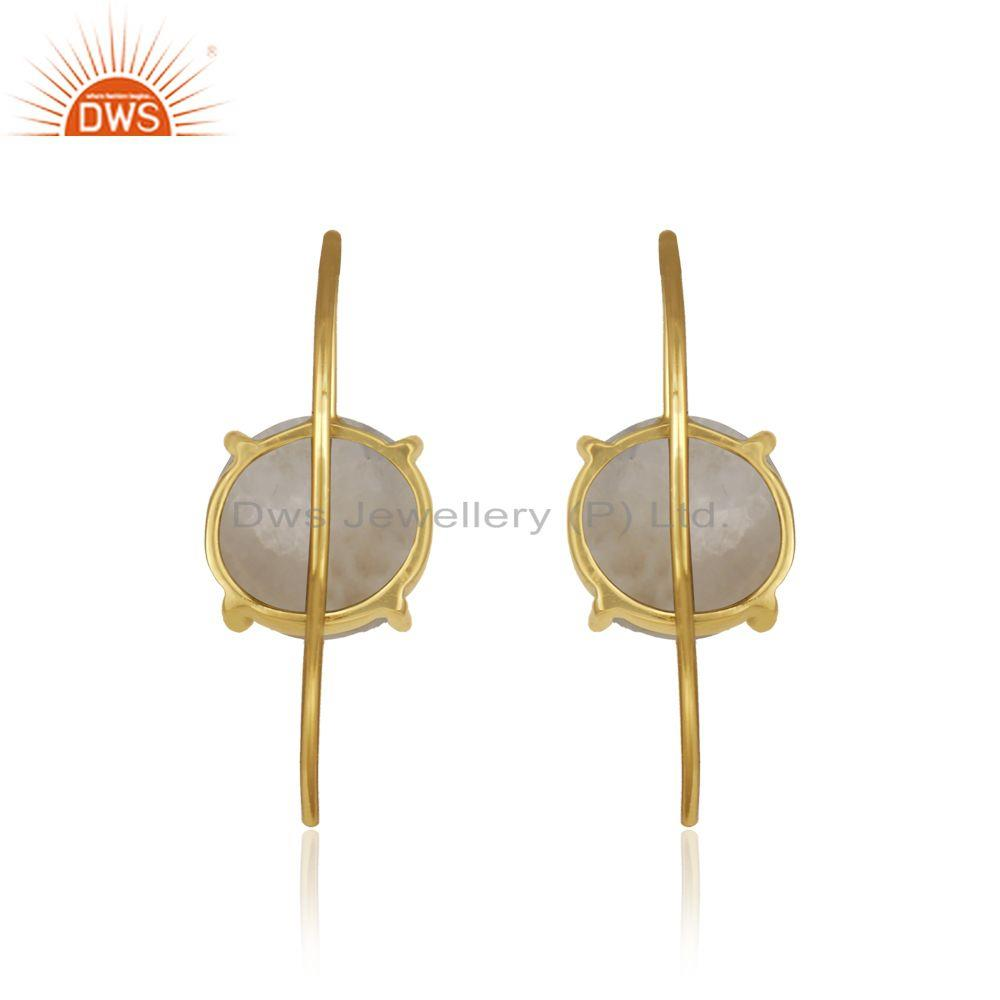 Designer of Rainbow moonstone gold plated sterling silver earrings manufacturer