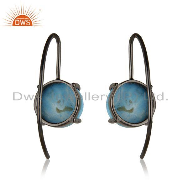 Matrix Turquoise Gemstone Silver Black Rhodium Plated Earrings Supplier India