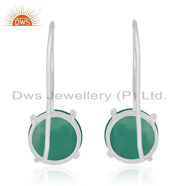 Suppliers Green Onyx Gemstone Sterling Fine Silver Drop Earrings Manufacturer India