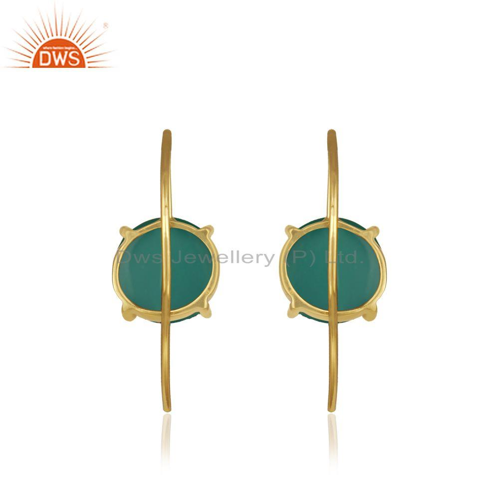 Designer of Green onyx gemstone gold plated sterling silver earrings wholesale