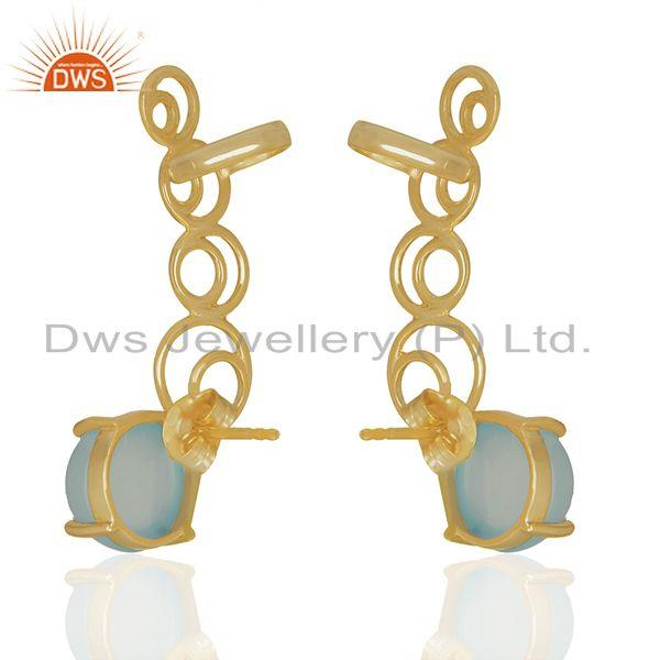 Handmade Aqua Chalcedony Gemstone 925 Silver Ear Cuff Earrings Manufacturer India