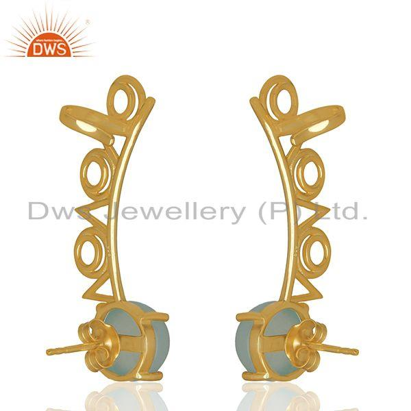 Trendy Gold Plated 925 Silver Chalcedony Gemstone Ear Cuff Earrings Supplier India