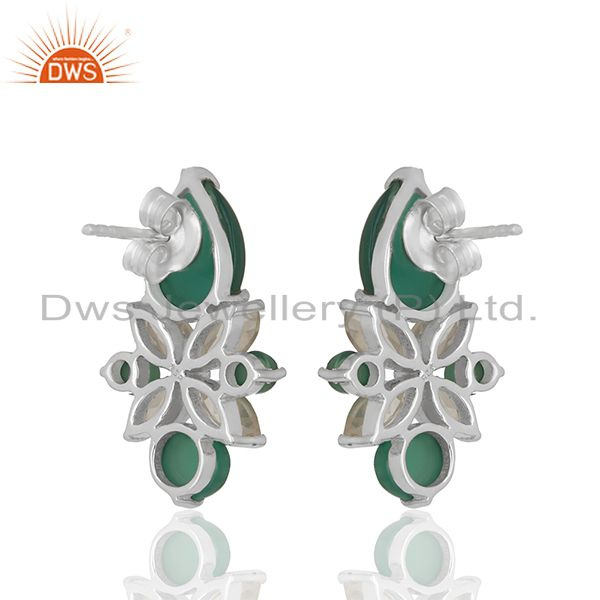 Suppliers Crystal and Onyx Gemstone 925 Silver Stud Earring Jewelry Manufacturer
