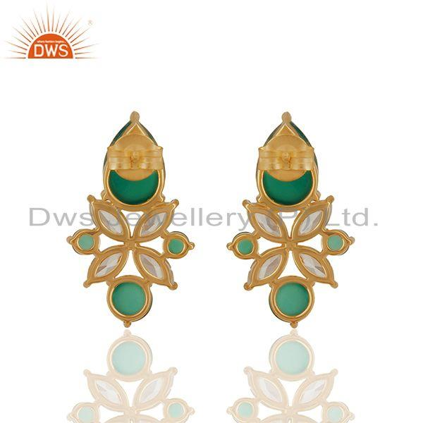 Suppliers Green Onyx Gemstone 925 Silver Gold Plated Stud Earrings Jewelry