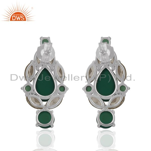 Suppliers Solid 925 Silver Gold Plated Multi Gemstone Earrings Manufacturer