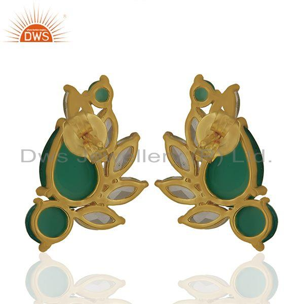 Suppliers Crystal Quartz and Green Onyx Gemstone Silver Earrings Wholesale