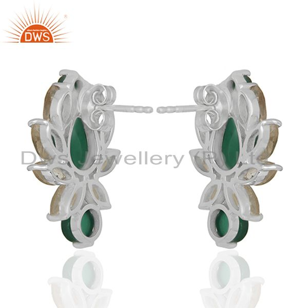 Suppliers Designer Multi Gemstone 925 Silver Stud Custom Earrings Manufacturers