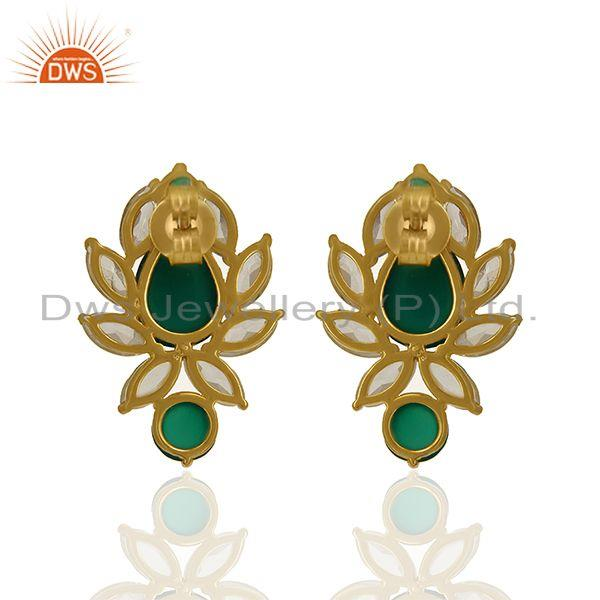 Suppliers Prong Set Gemstone Sterling Silver Gold Plated Earring Manufacturer