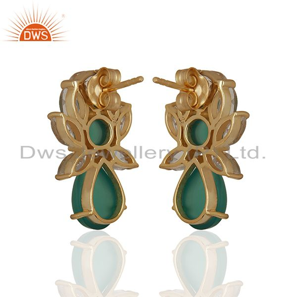 Suppliers Prong Setting Natural Gemstone Solid 925 Silver Stud Earrings Jewelry