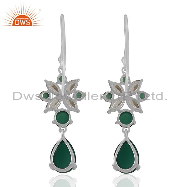Suppliers Solid Fine Sterling Silver Multi Gemstone Dangle Earrings Wholesale