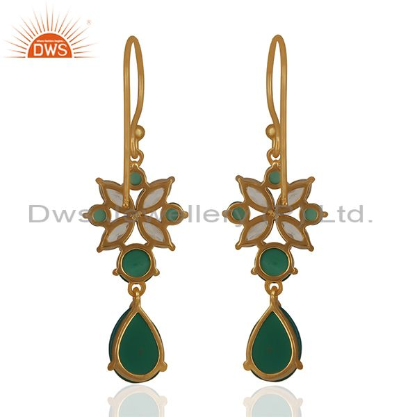 Suppliers Handmade Gemstone 925 Silver Gold Plated Earrings Jewelry Wholesale