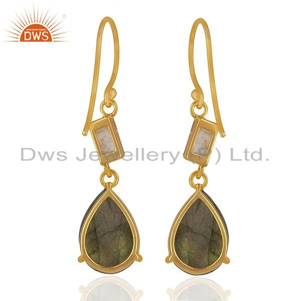 Suppliers Labradorite and Moonstone Rainbow 925 Silver Dangle Earrings Wholesale