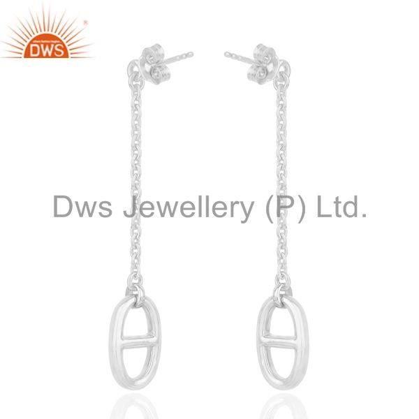 Suppliers Genuine Sterling Silver Chain Link Design Girls Earrings Manufacturer