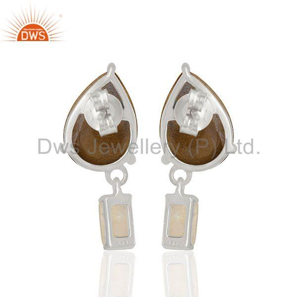 Suppliers Natural Labradorite and Moonstone 925 Silver Drop Earrings Wholesale
