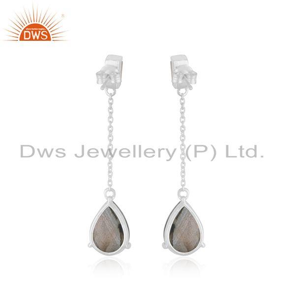 Suppliers Natural Labradorite Gemstone Fine Sterling Silver Chain Earrings Manufacturer