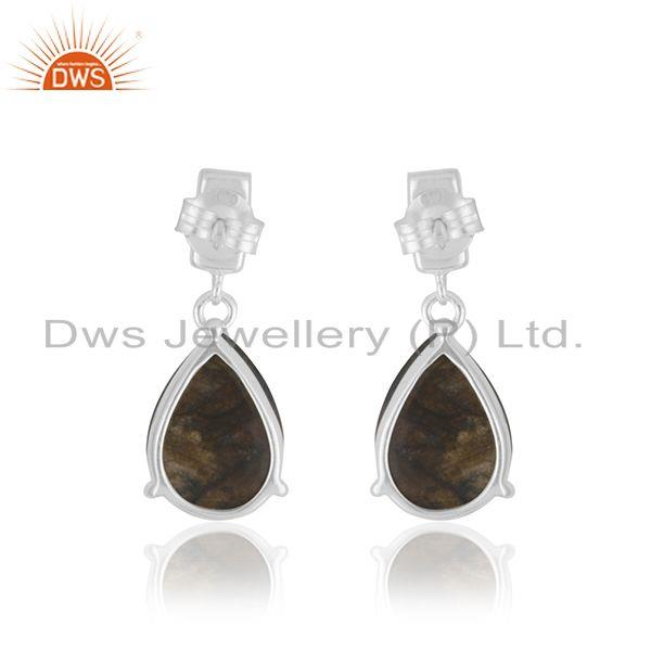Suppliers Labradorite and Moonstone 925 Sterling Silver Drop Earrings Jewelry Wholesaler
