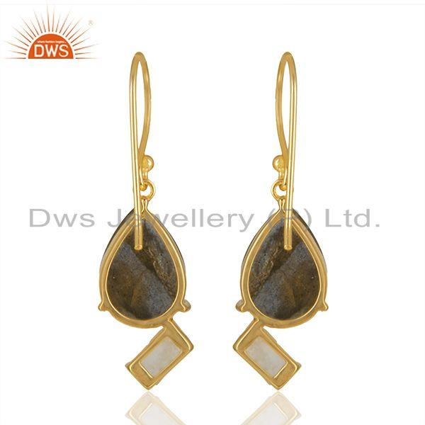 Suppliers Natural Multi Gemstone 925 Silver Gold Plated Earrings Jewelry