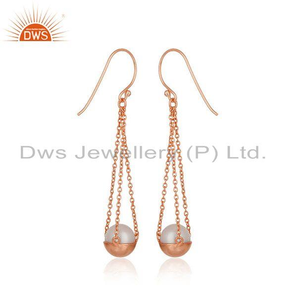 Suppliers Natural Pearl Rose Gold Plated 925 Silver Chain Earring Jewelry
