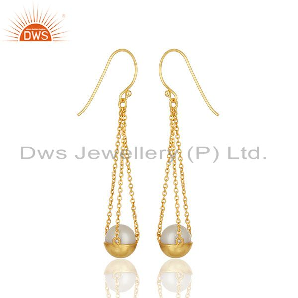 Suppliers Natural Pearl Gold Plated Solid 925 Silver Chain Earrings Manufacturer