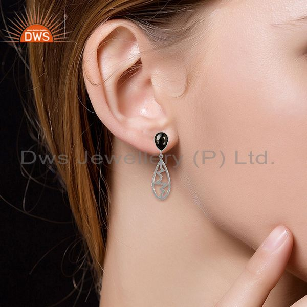 Suppliers Hematite Pear Studded Heartbeat Collection Designer Silver Earring