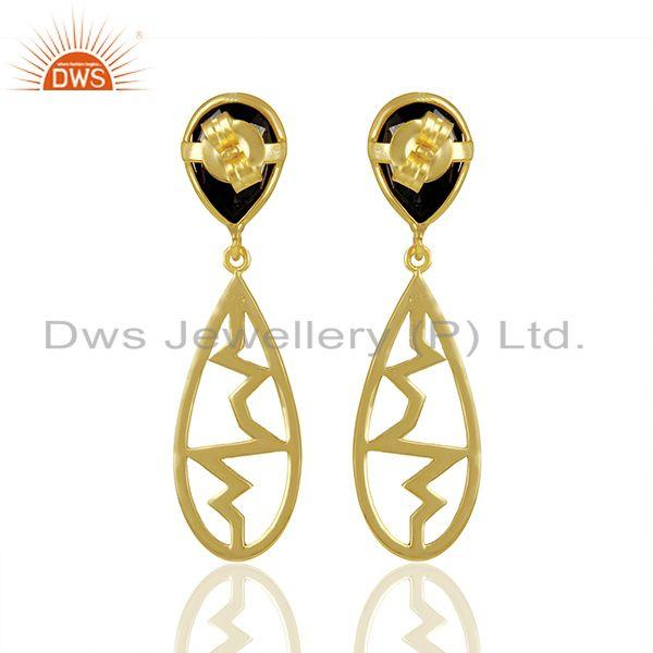 Suppliers Hematite Pear Studded Heartbeat Collection Gold Plated Designer Silver Earring