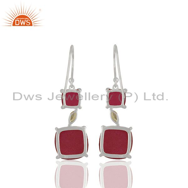Suppliers Peridot and Ruby Gemstone Fine 925 Silver Dangle Earrings Manufacturer