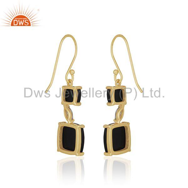 Suppliers 14k Gold Plated 925 Silver Black Onyx Gemstone Dangle Earrings Manufacturer