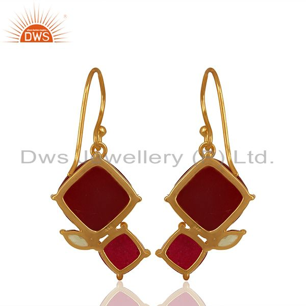 Suppliers New Arrival Gold Plated 925 Silver Multi Gemstone Earrings Wholesale