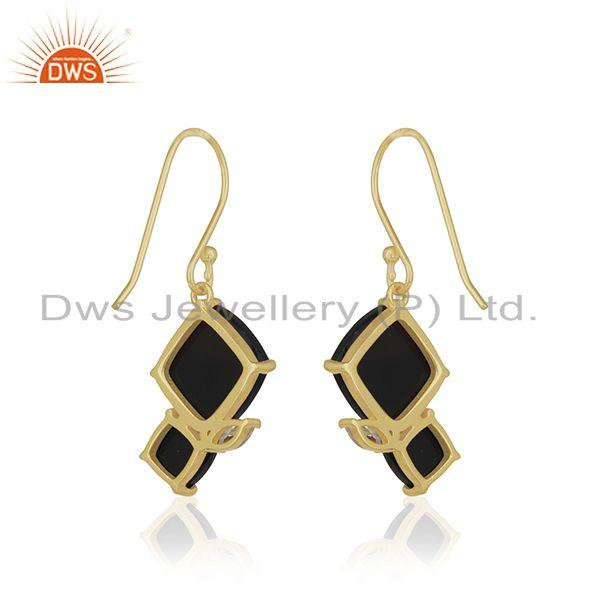 Suppliers Handmade 925 Silver 14k Gold Plated Black Onyx Gemstone Drop Earrings Wholesale