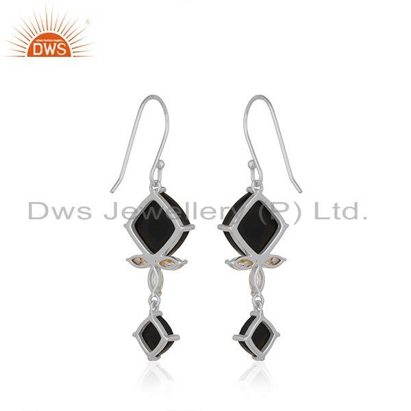 Suppliers Black Onyx Gemstone 925 Fine Silver Black Onyx and Zircon Earrings Wholesale