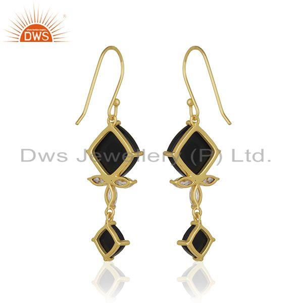 Suppliers 925 Silver 14k Gold Plated Black Onyx Gemstone Dangle Earrings Manufacturer