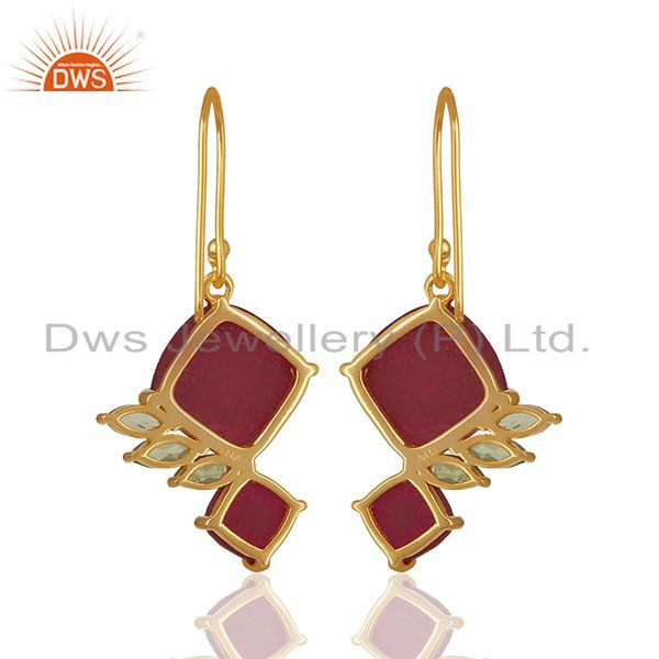 Suppliers 92.5 Sterling Silver Gold Plated Double Gemstone Earrings Wholesale